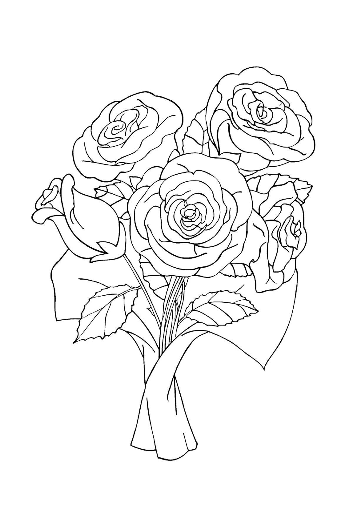 Раскраска розы в подарок букет роз
