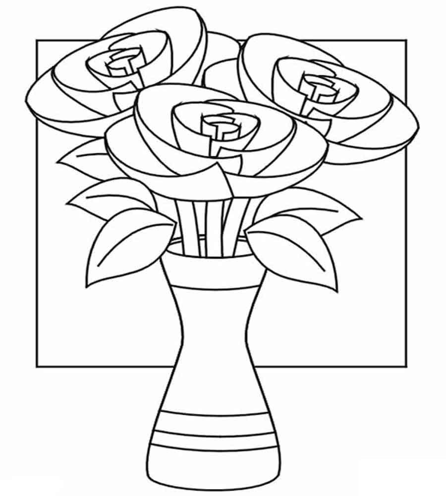 Раскраски розы в вазе. Раскраски с цветами распечатать бесплатно