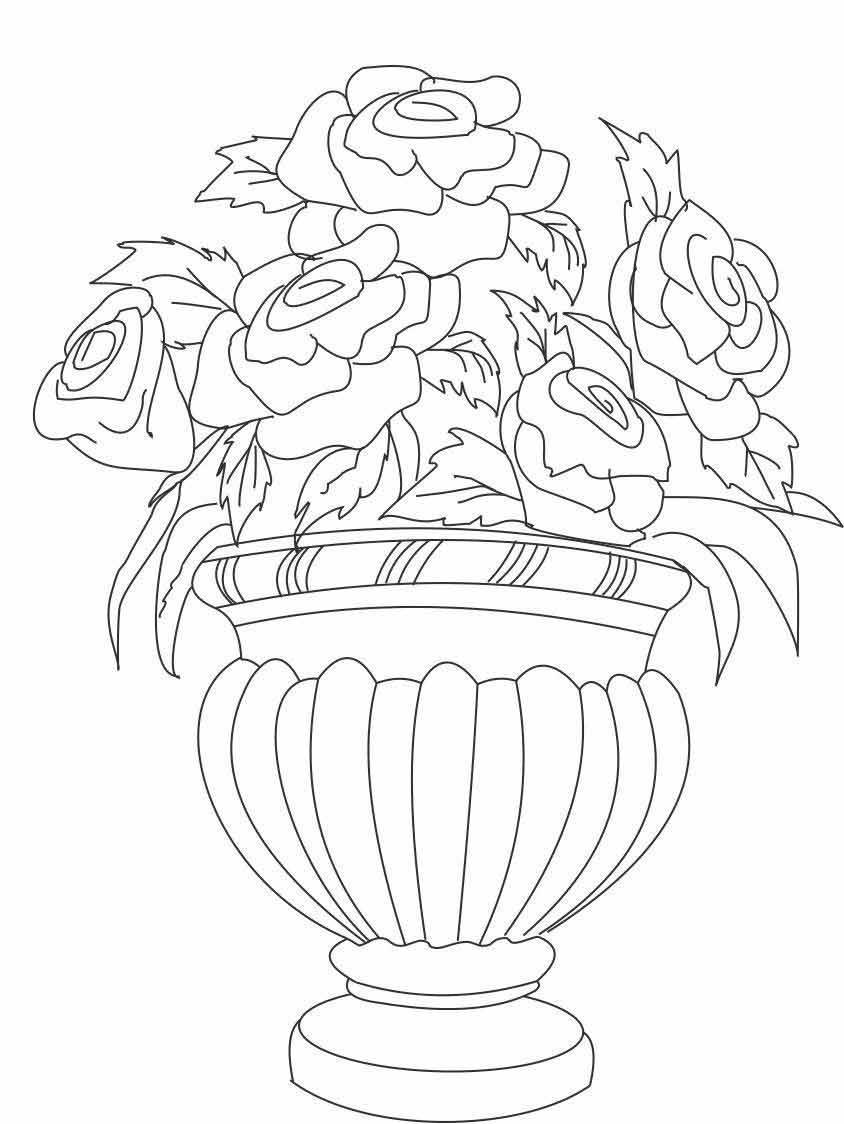 Розы в вазе Раскраски с цветами распечатать бесплатно
