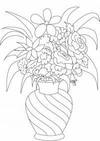 Букет цветов цветы в вазе Раскраски с цветами распечатать бесплатно