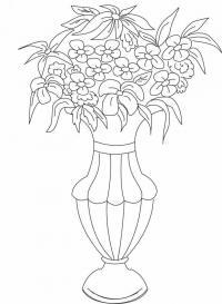 Красивая ваза с цветами Раскраски с цветами распечатать бесплатно