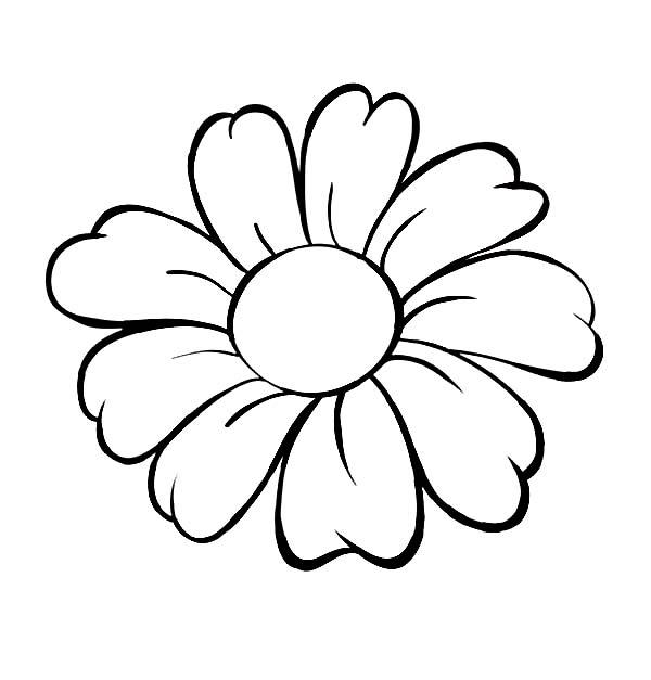 Контур цветка для поделок и аппликаций Раскраски с цветами распечатать бесплатно