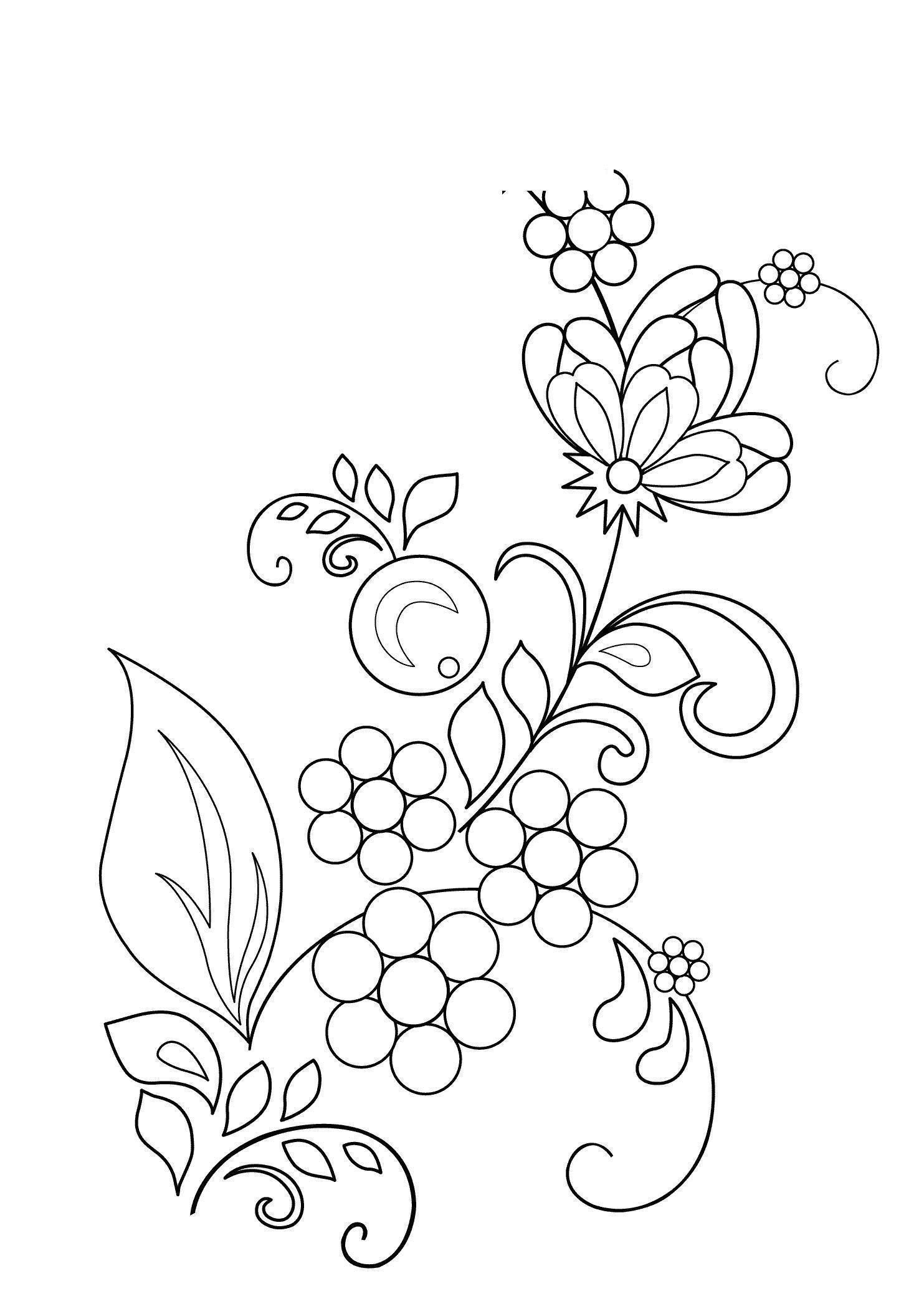 Узор из цветов Раскраски с цветами распечатать бесплатно