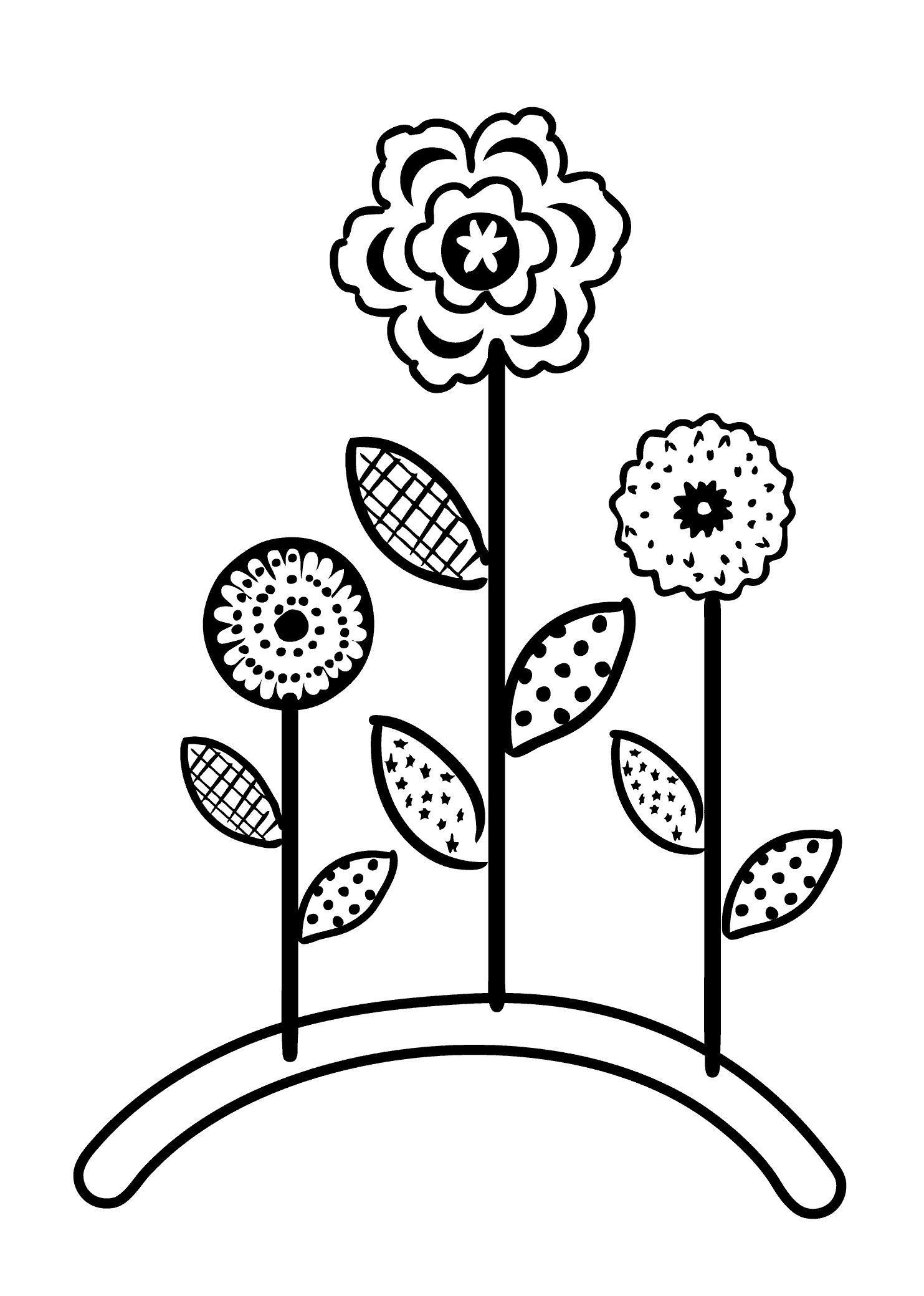 Три цветка Раскраски с цветами распечатать бесплатно