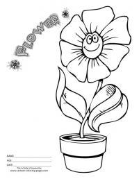 Веселый цветок в горшке Раскраски с цветами распечатать бесплатно