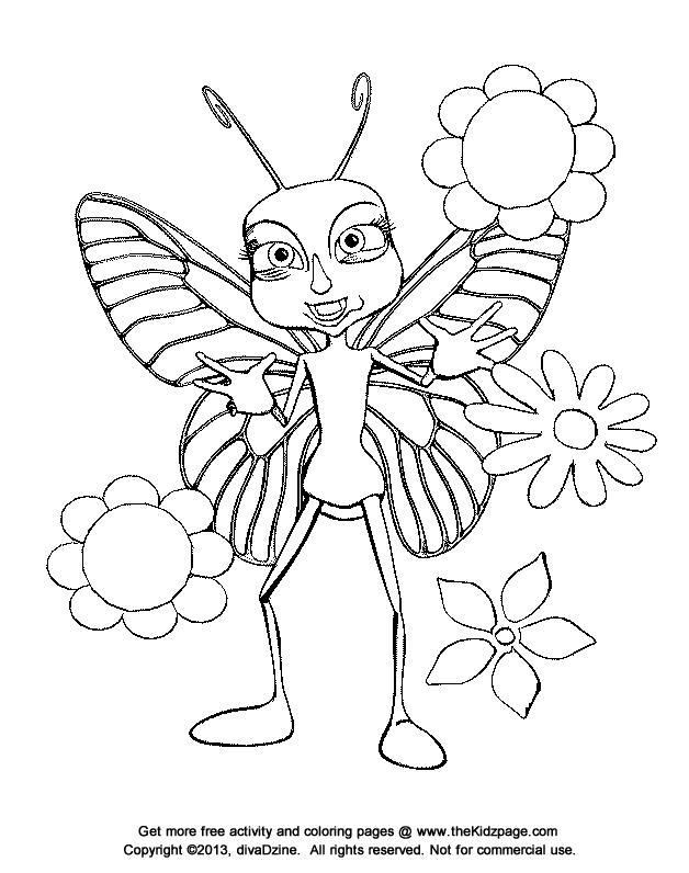 Контуры Бабочка с цветами Скачать раскраски с цветамираскраски цветы