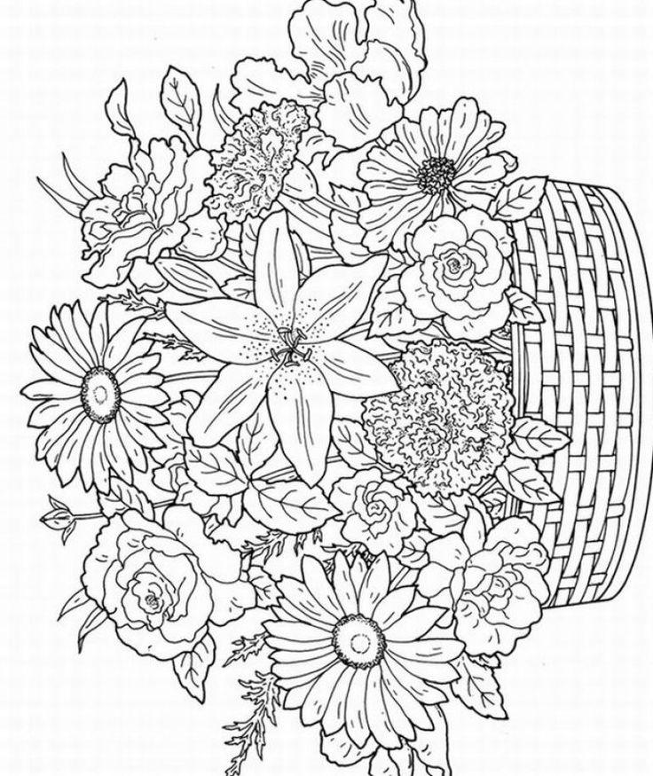 Лилии, гвоздики, розы, ромашки, астры Для детей онлайн раскраски с цветами