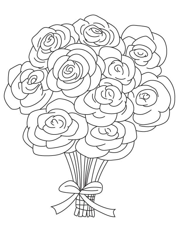 Букет цветов раскраски
