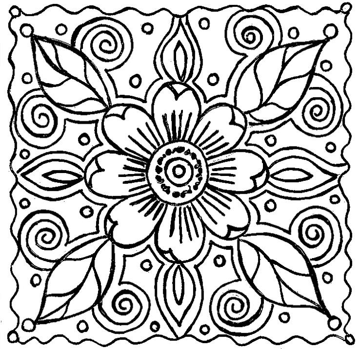 Абстрактный узор из цветов Раскраски с цветами распечатать бесплатно