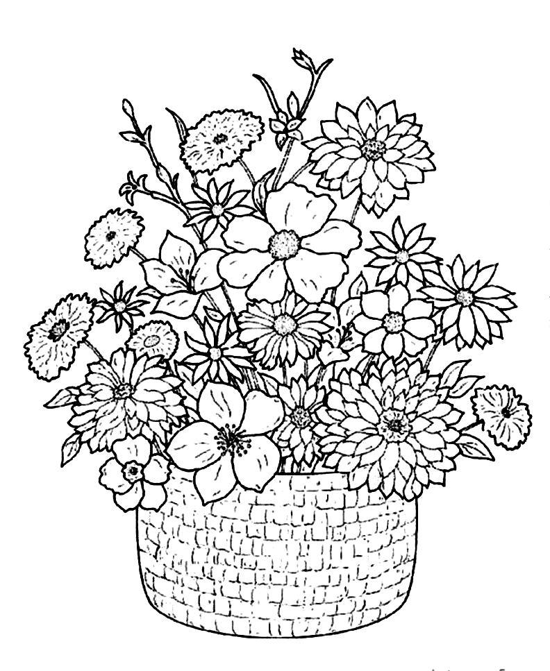 Корзина с цветами Для детей онлайн раскраски с цветами
