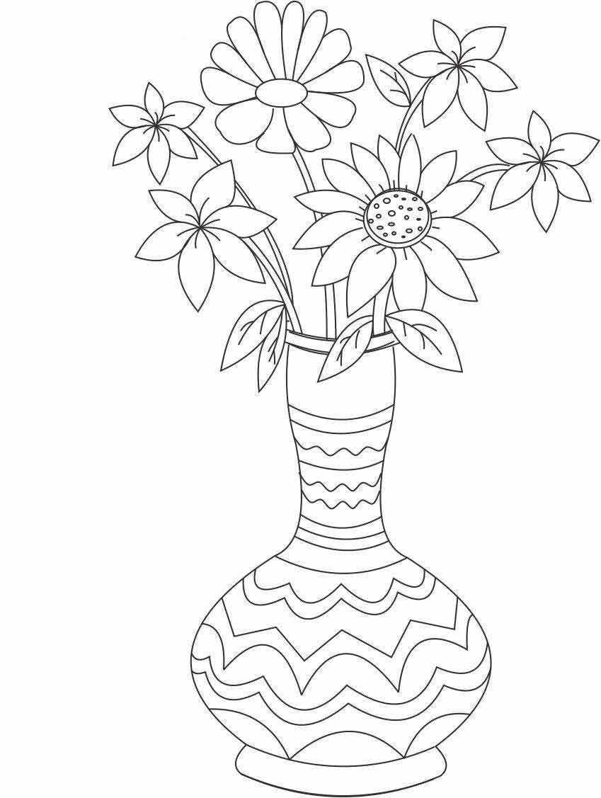 Букет цветов в вазе красивые полевые цветы Раскраски с цветами распечатать бесплатно