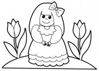 Девочка с тюльпанами Раскраски с цветами распечатать бесплатно