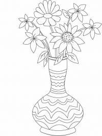 Раскраски цветы в вазе Раскраски с цветами распечатать бесплатно