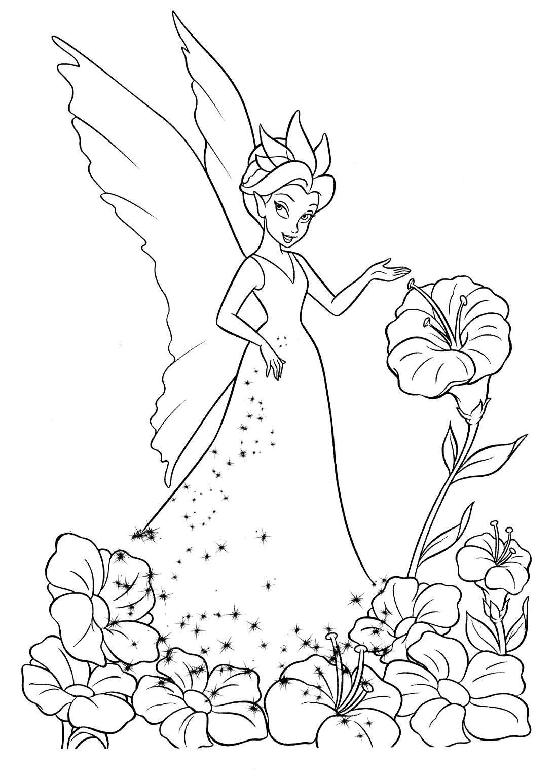 Фея Фея с цветами Раскраски картинки цветовраскраски цветы