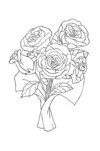 Букет роз Раскраски с цветами распечатать бесплатно