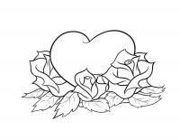 Сердце с розами Раскраски с цветами распечатать бесплатно