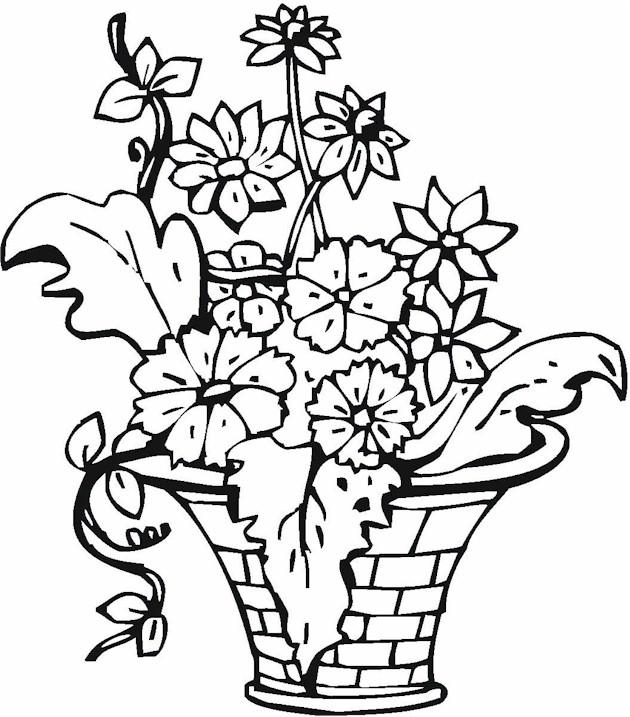 Цветы в корзине Скачать раскраски с цветами