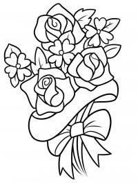 Раскраска букет цветов для мамы Раскраски с цветами распечатать бесплатно