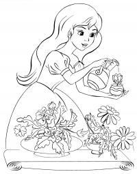 Девочка поливает цветы Раскраски с цветами распечатать бесплатно
