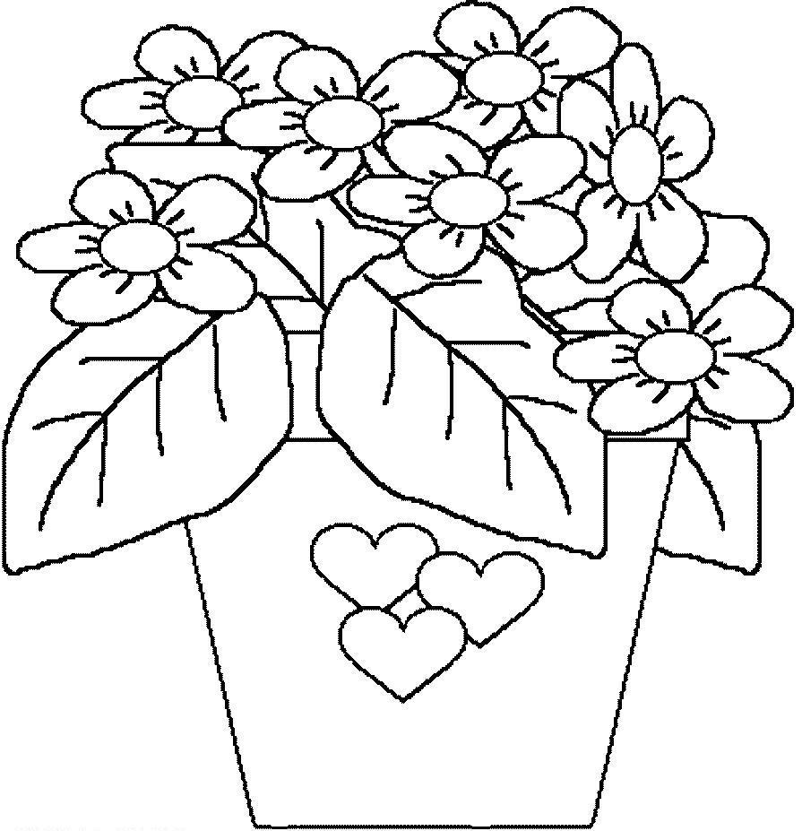 Картинки цветка в горшке для детей