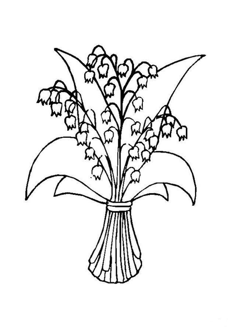 Букет ландышей весенние цветы Раскраски с цветами распечатать бесплатно