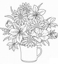 Цветы в кружке Раскраски с цветами распечатать бесплатно