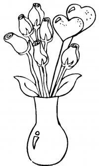 Цветы в вазе, розы с сердечками Раскраски с цветами распечатать бесплатно