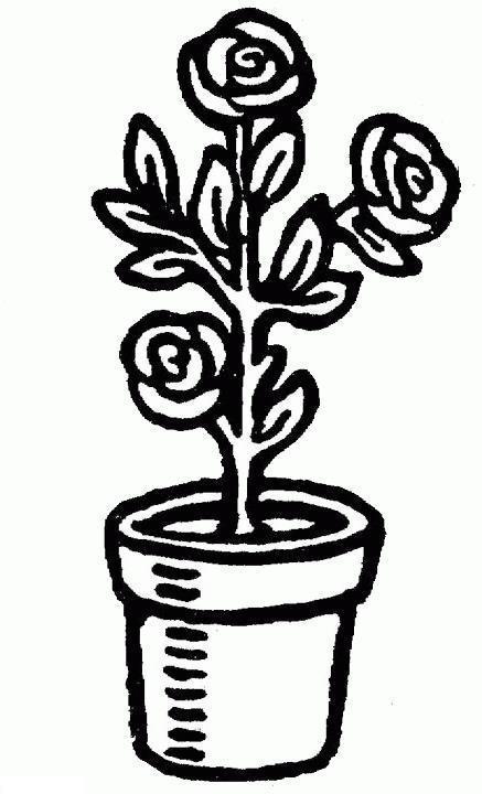 Цветы в горшке, роза Детские цветы распечатать