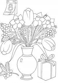 Раскраски раскрасить раскраска, цветы, букет, 8 марта Раскраски с цветами распечатать бесплатно