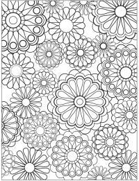 Узоры с цветами Черно белые раскраски цветов