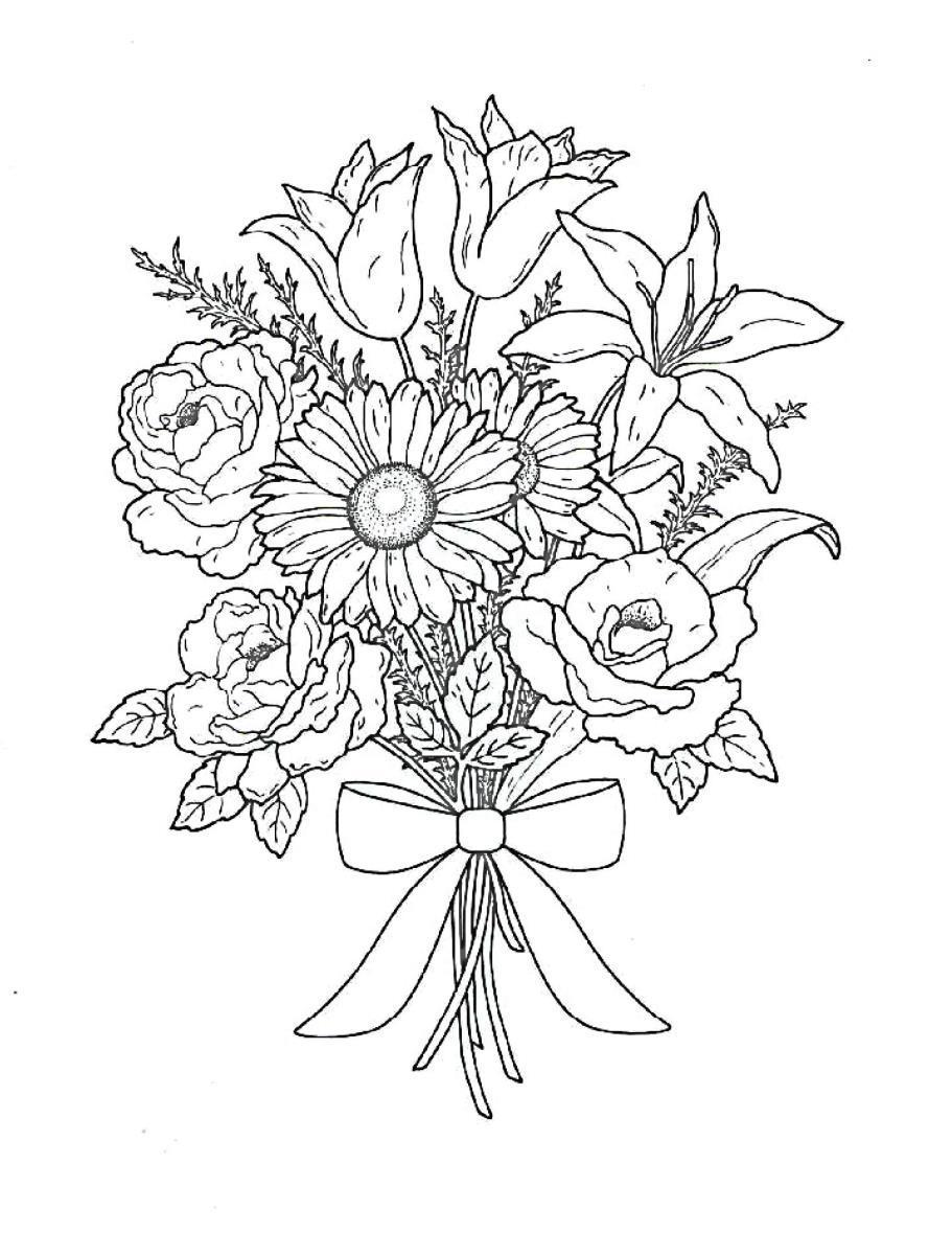 Распечатать раскраски букеты цветов