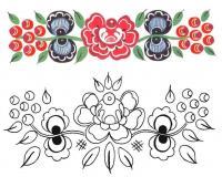 Узоры с цветами, раскрась по образцу Черно белые раскраски цветов