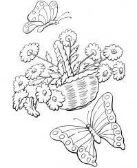 Трафареты цветов, цветы в корзине Для детей онлайн раскраски с цветами