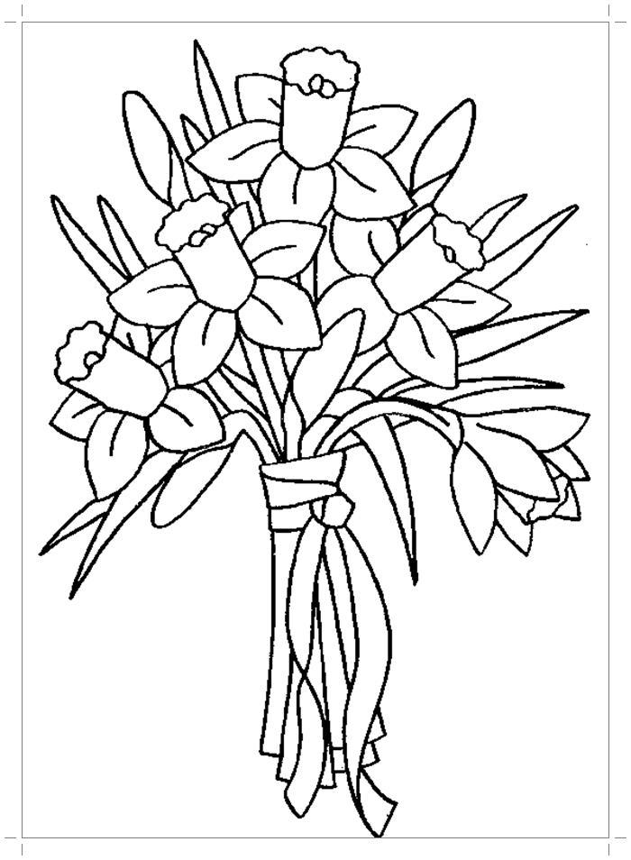 Нарциссы в букете Раскраски цветы хорошего качества