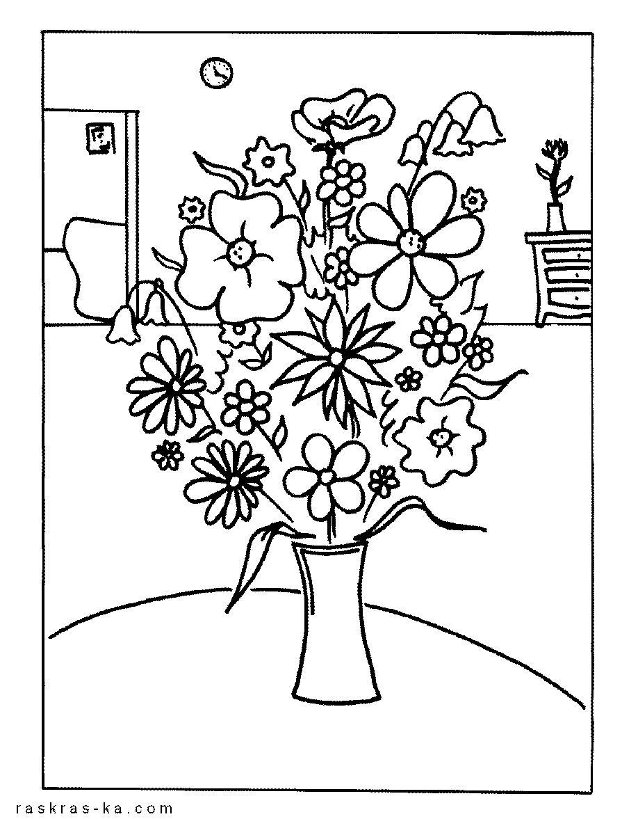 Букет цветов в вазе на столе Раскраски с цветами распечатать бесплатно
