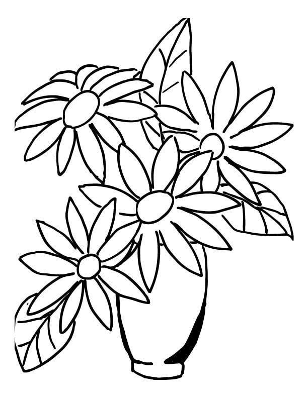 Ромашки в вазе Раскраски с цветами распечатать бесплатно