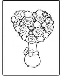 Розы в букете в вазе Раскраска цветок для скачивания