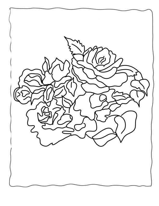 Роза в рамке Раскраска цветок для скачивания