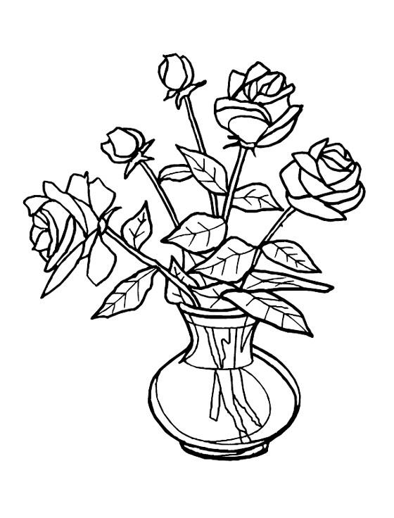 Розы в стеклянной круглой вазе Раскраски с цветами распечатать бесплатно