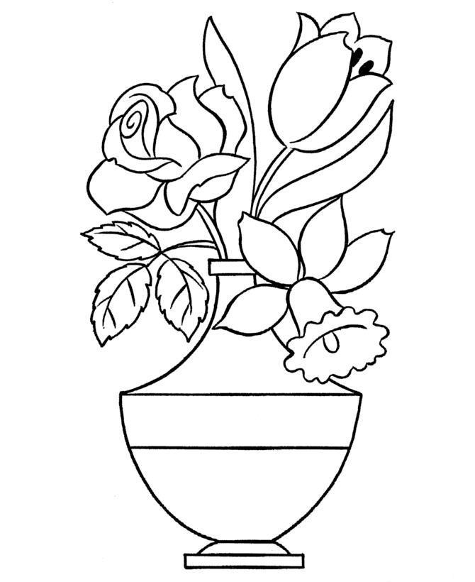 Роза, нарцисс, тюльпан в необычной вазе Раскраски с цветами распечатать бесплатно