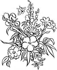 Цветы в букете Раскраски с цветами распечатать бесплатно