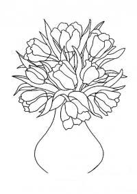 Розочки в вазе Раскраски с цветами распечатать бесплатно