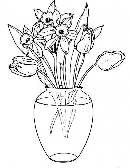 Нарциссы в стеклянной вазе Раскраски с цветами распечатать бесплатно