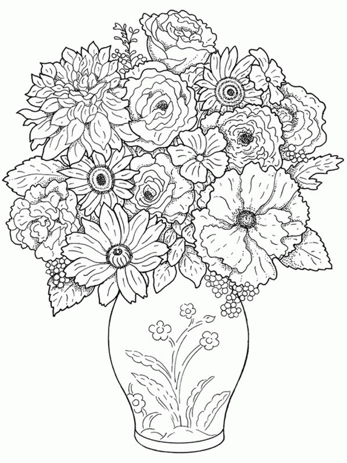 Ваза с цветами раскраска распечатать