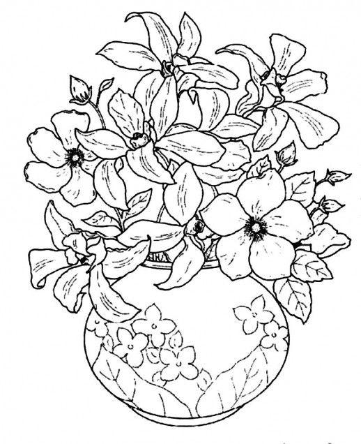 Цветы в вазе с цветочным узором Раскраски с цветами распечатать бесплатно