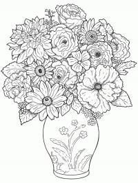 Осеннии цветы в вазе Раскраски с цветами распечатать бесплатно