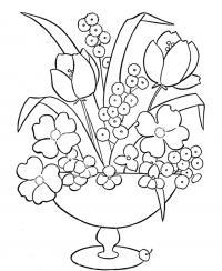 Цветы в красивой вазе Раскраски с цветами распечатать бесплатно