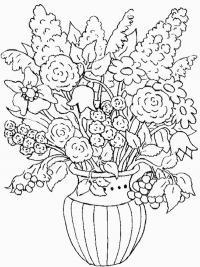 Цветы в вазе с ягодами Раскраски с цветами распечатать бесплатно