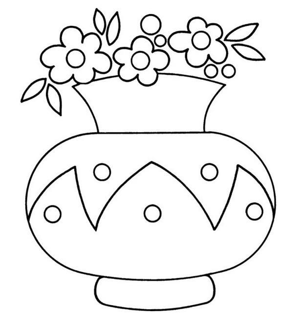 Маленькие цветы в большой вазе Раскраски с цветами распечатать бесплатно