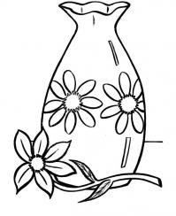 Цветок возле вазы Раскраски с цветами распечатать бесплатно